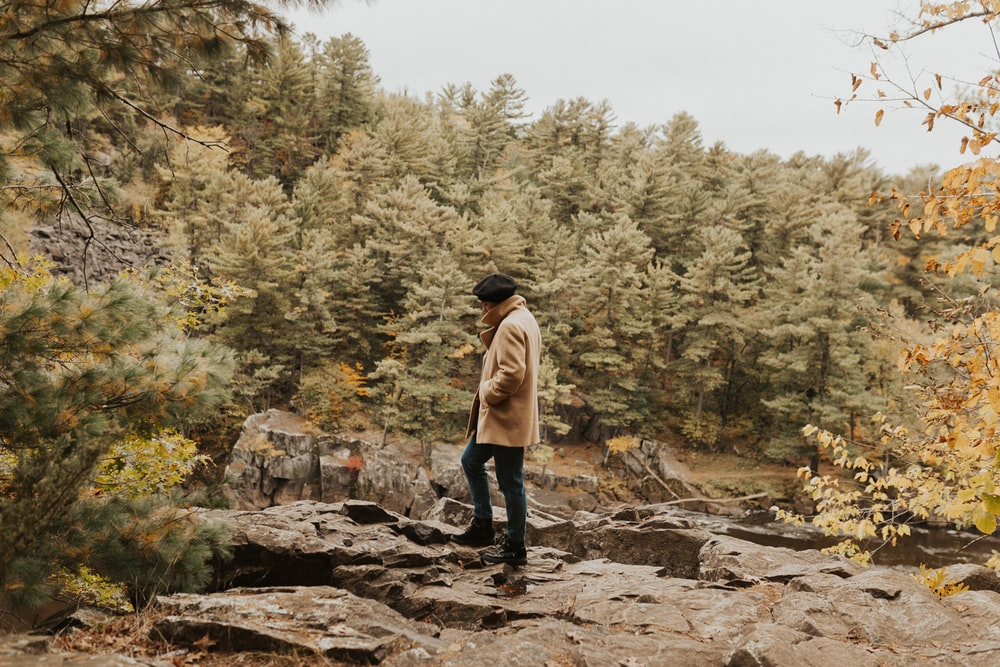 man standing on rocky cliff surrounded with trees during daylight
