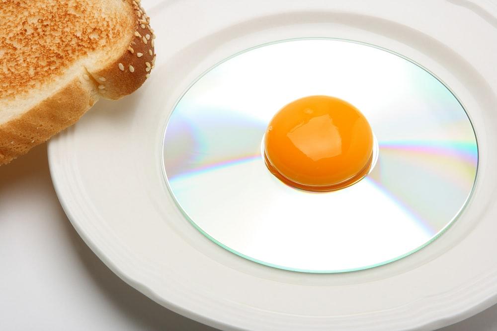 egg yolk on compact disc