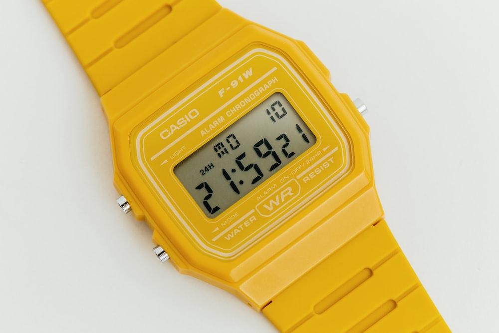 Casio yellow digital watch with yellow straps