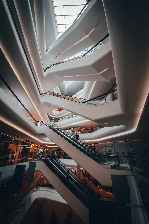 interior photo of a mall's escalators