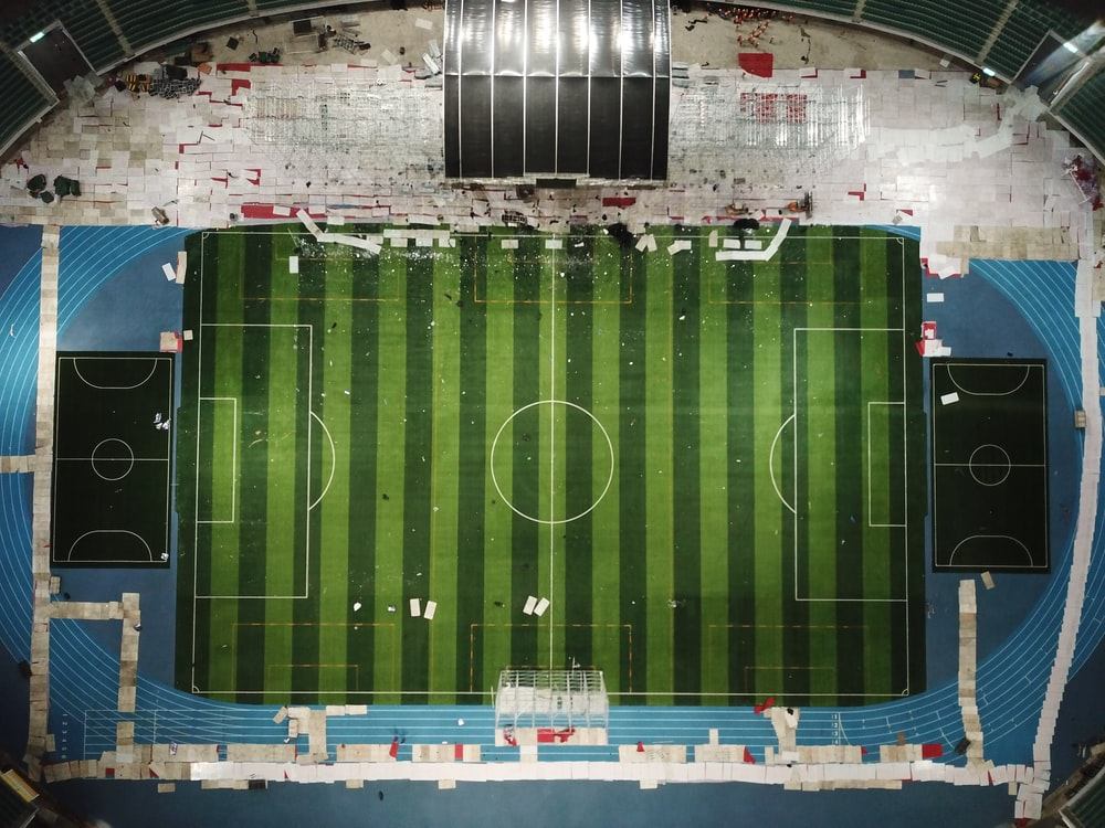 bird's eye view of a soccer field