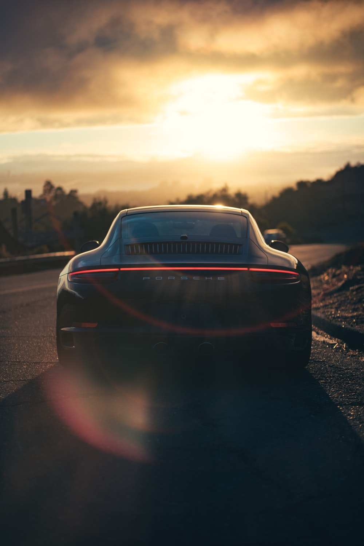 black Porsche coupe