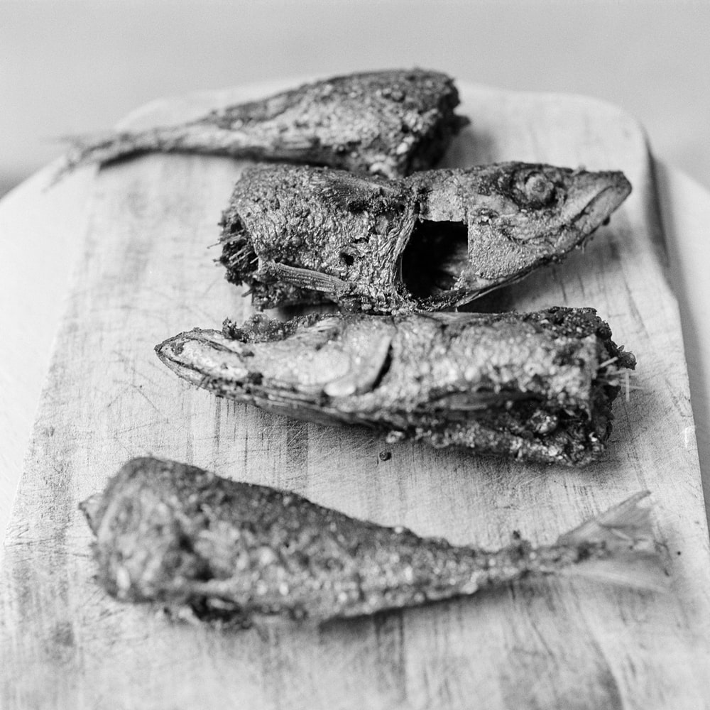 grayscale picture of four pieces of fried fish