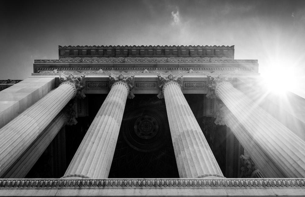 low angle photo of pillars