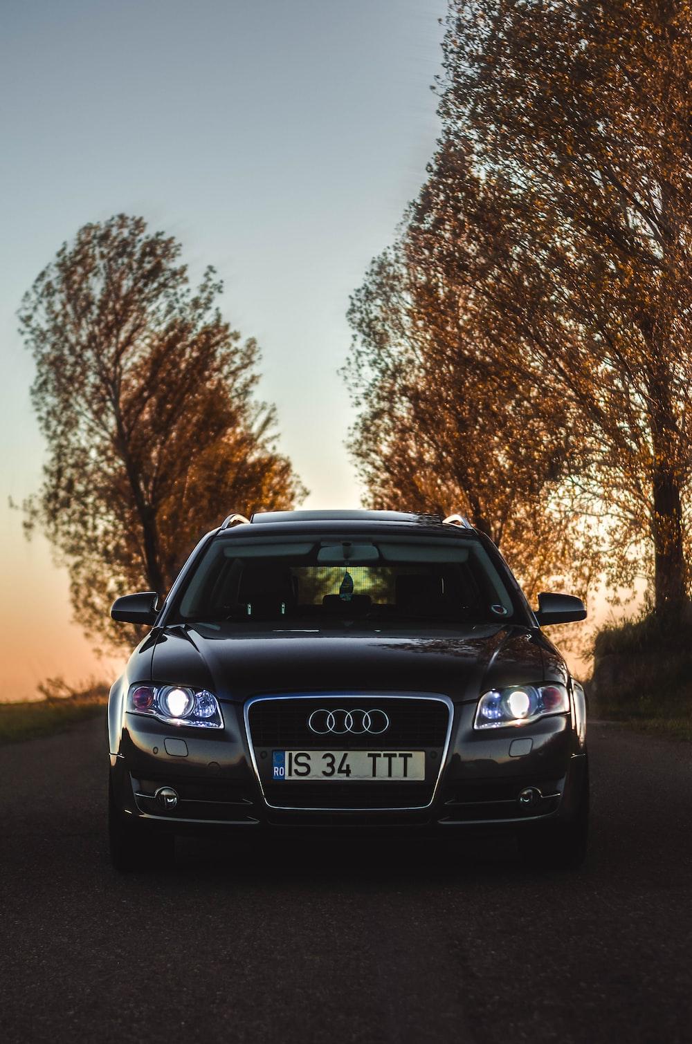 black Audi A4 3.2 Quattro during golden hour