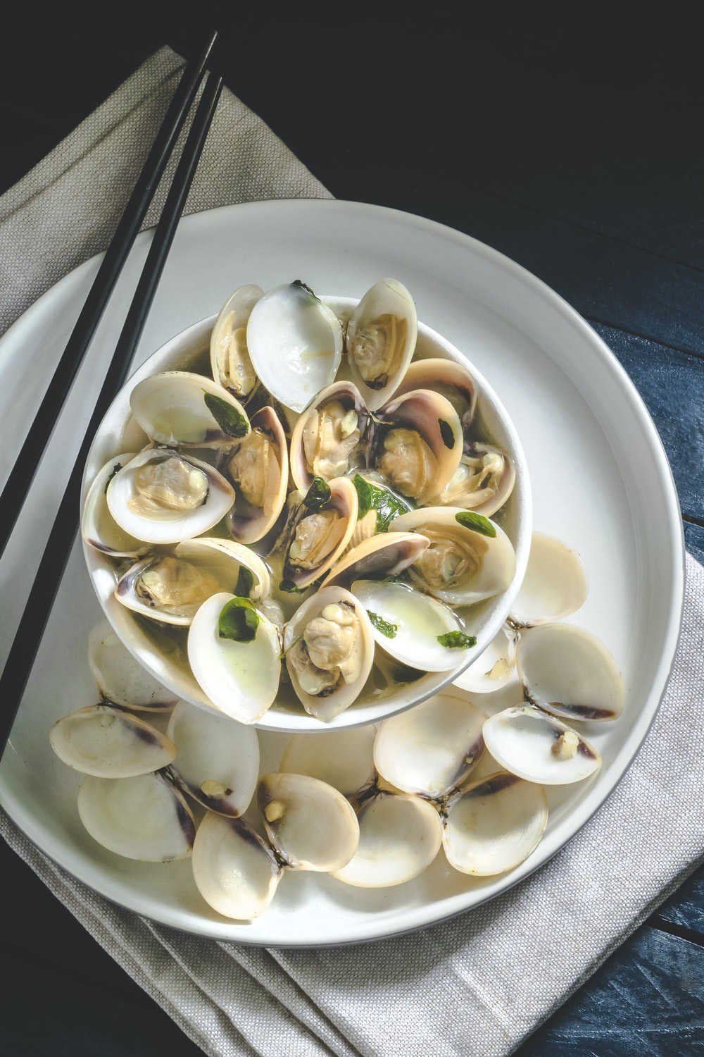 seafood dish in white plate