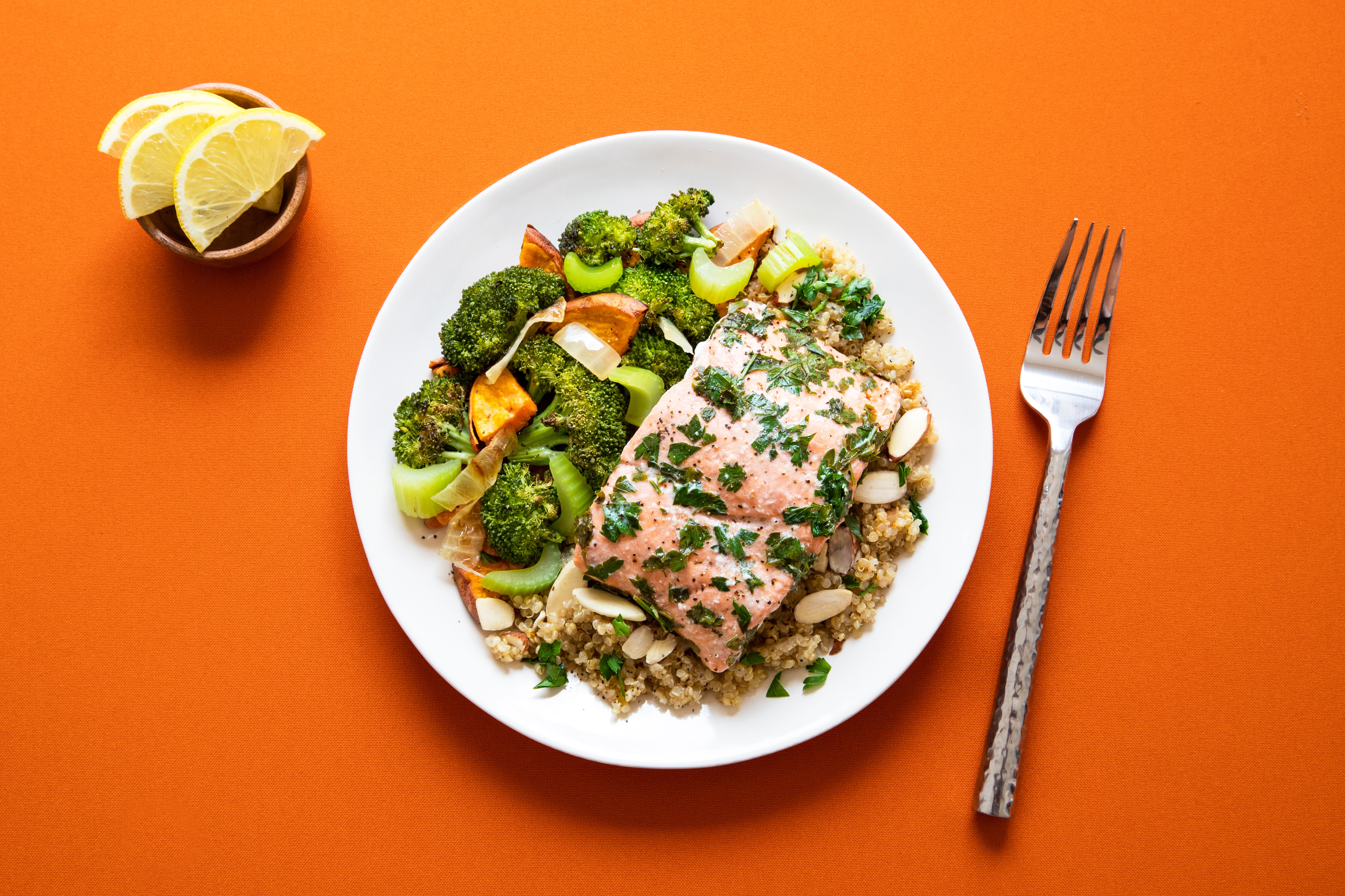 broccoli with meat on plate