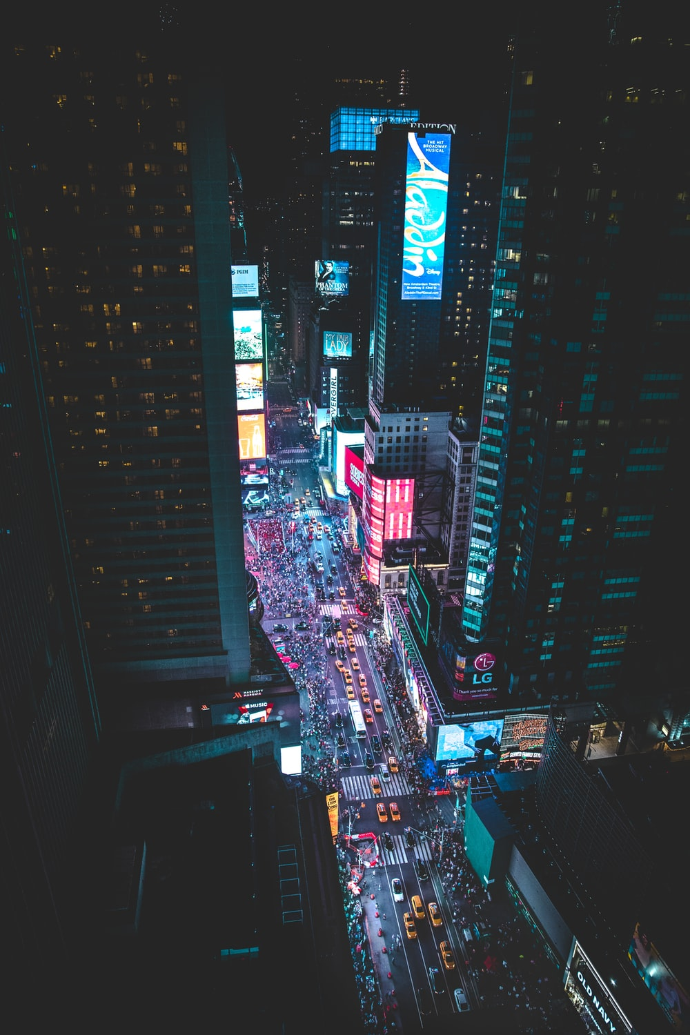 aerial photo of a busy city during night time