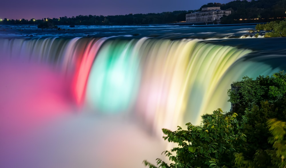 multicolored waterfalls