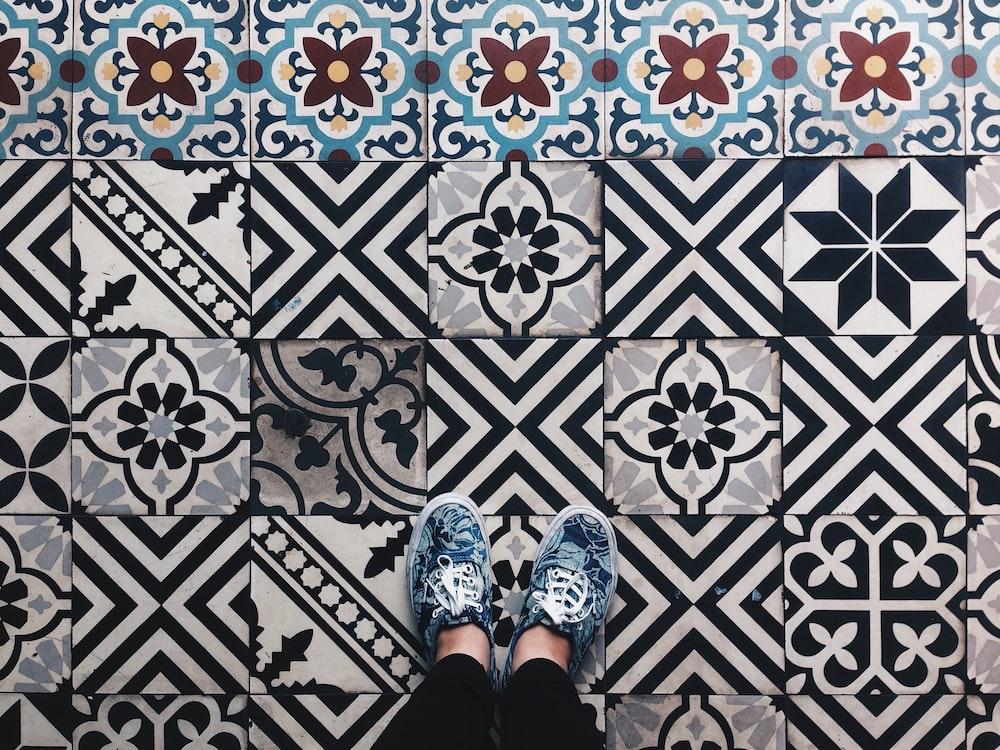 black and white tiles