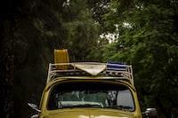 yellow Volkswagen Beetle car