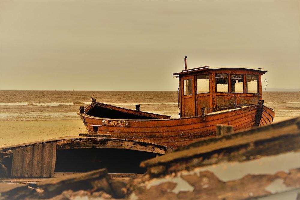 brown fishing boat