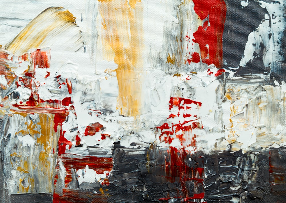 red, yellow, and white painting