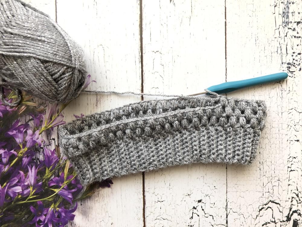 gray knit textile and gray yard