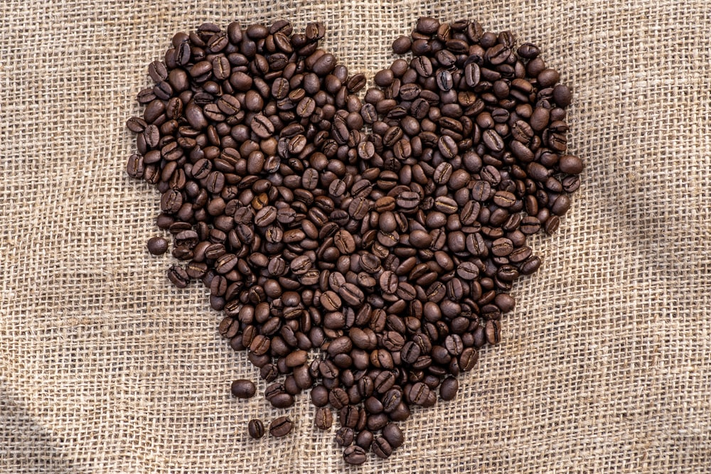 heart-shaped coffee beans