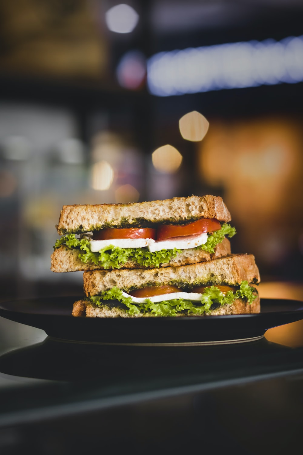 black plate with sandwich