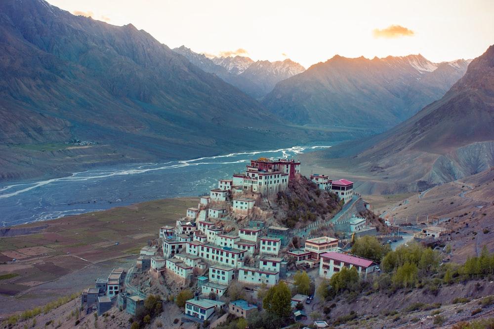 high angle photo of houses