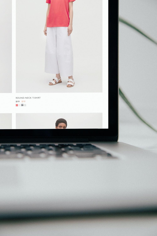 laptop computer displaying Mango pants