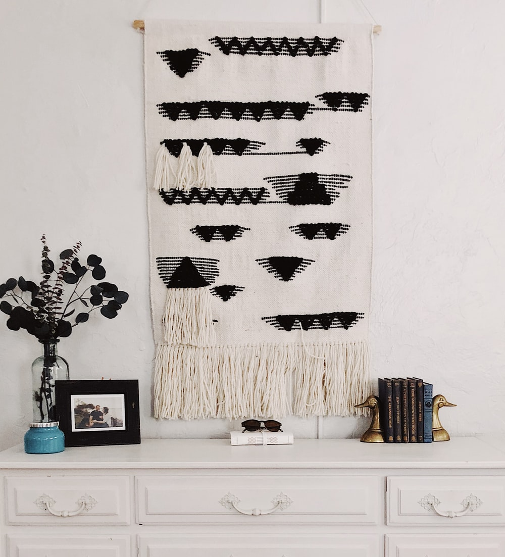 white and black string tapestry