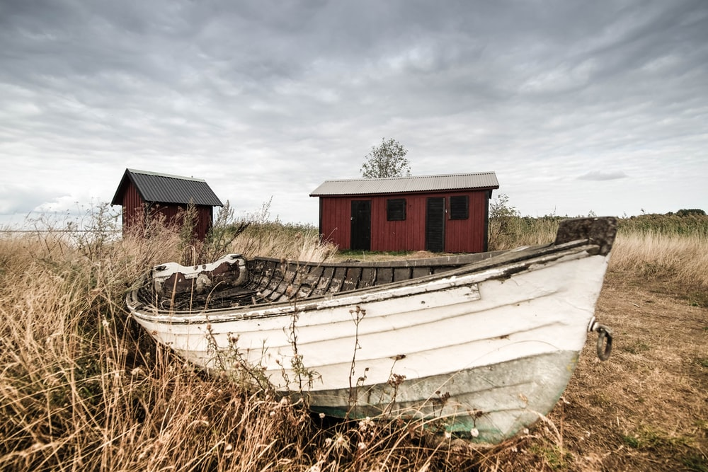 white wooden boat near shed