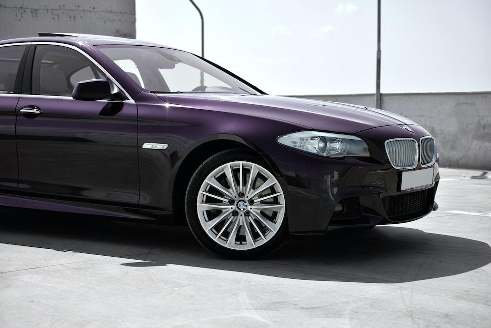 purple BMW sedan