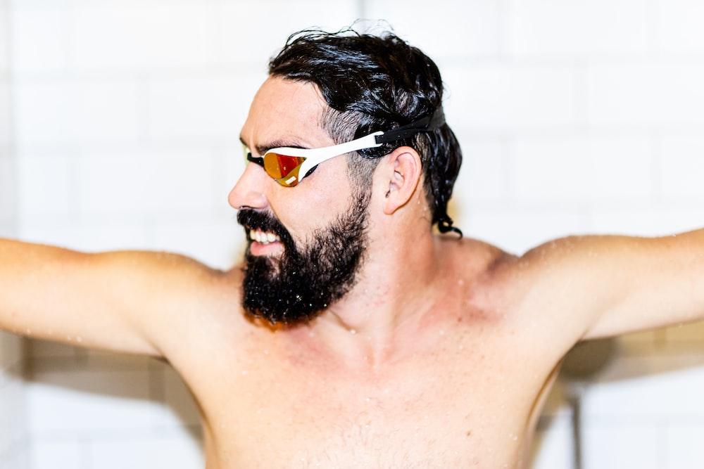 man in white swim goggles