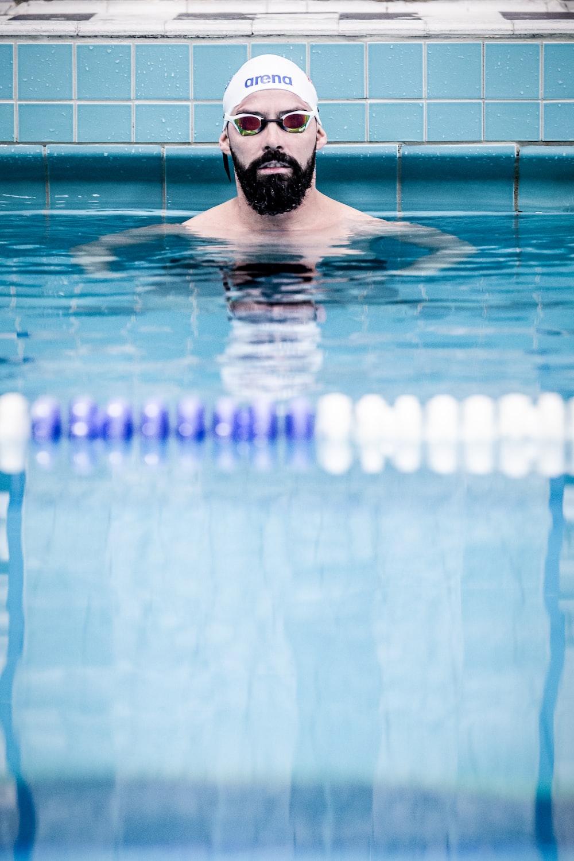 man in swimming poool