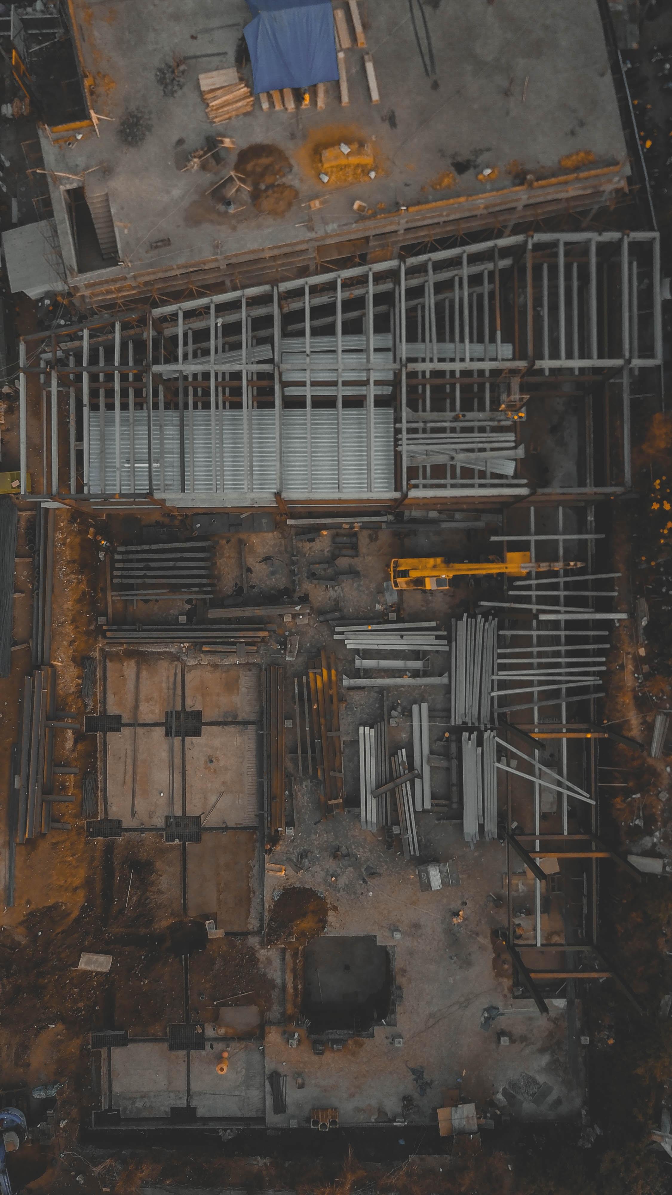 top view of gray steel brackets