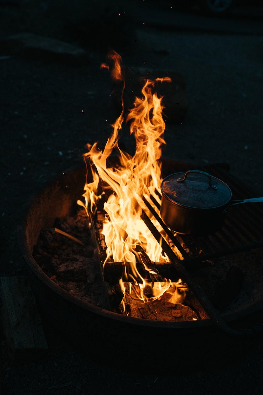 sauce pan on fire