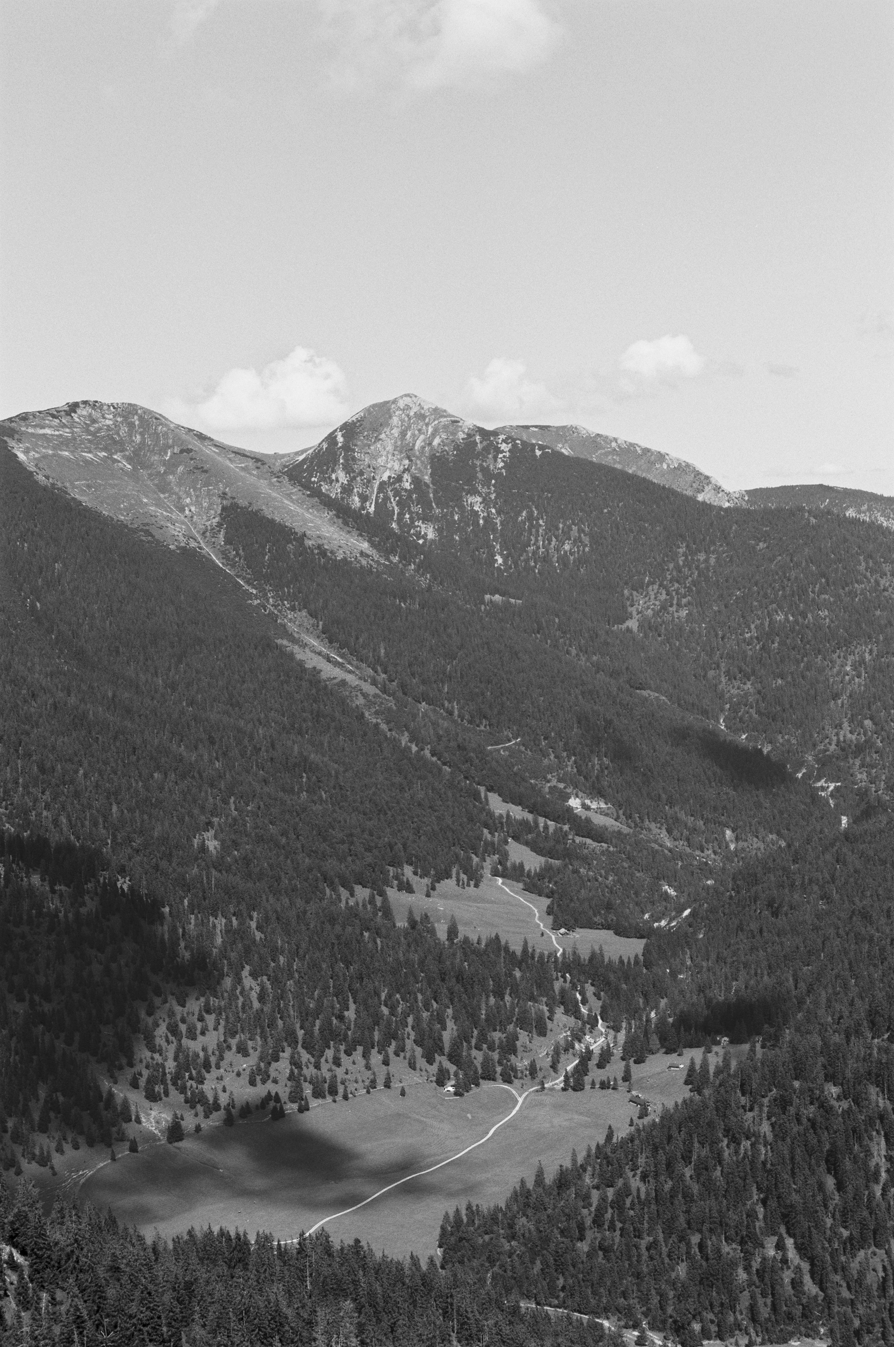 grayscale photo of mountains