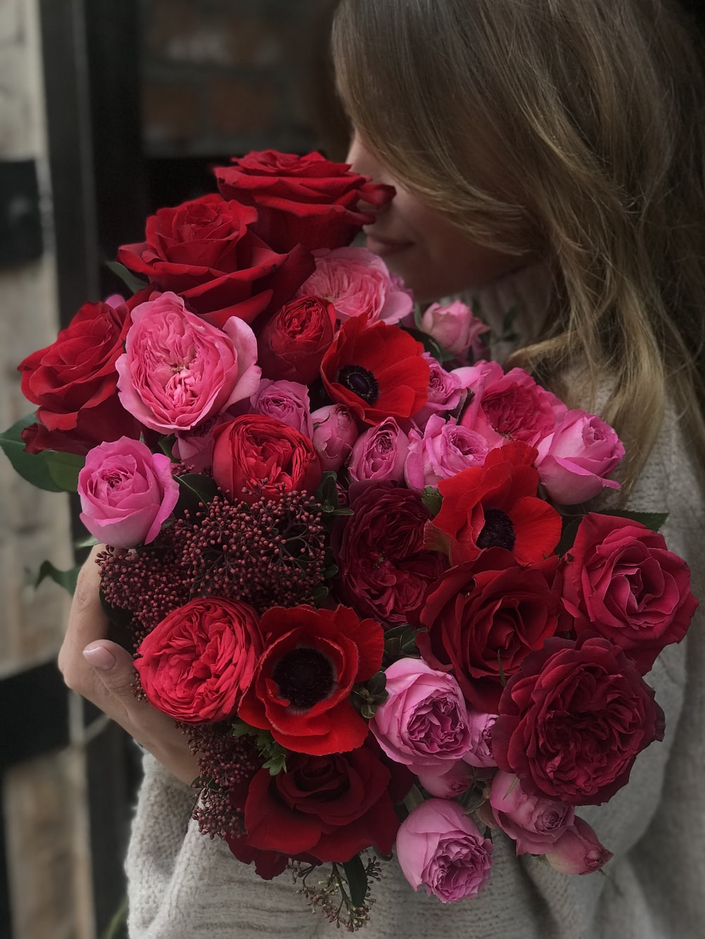 pink and red rose flowers