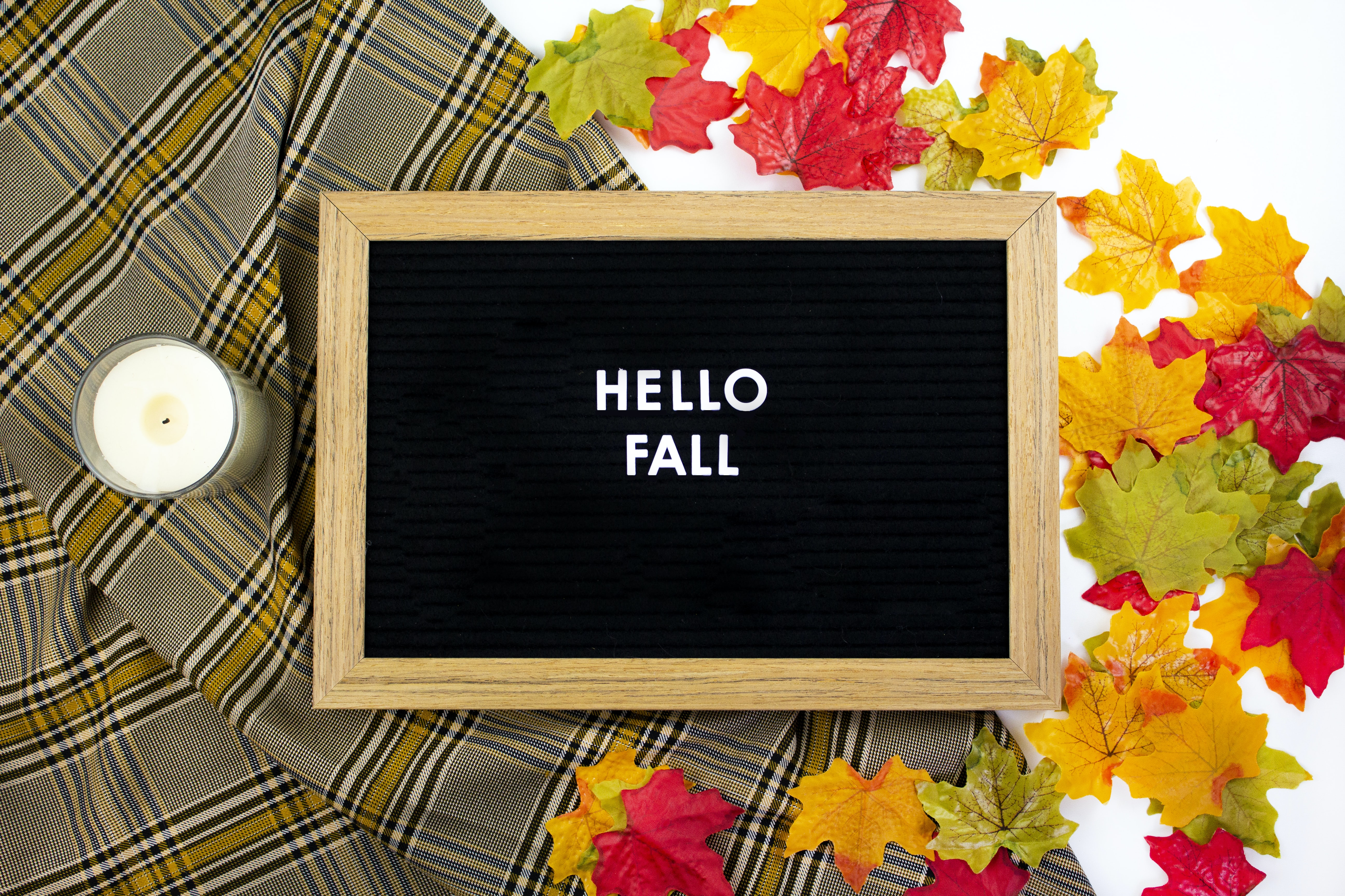 chalkboard with hello fall text