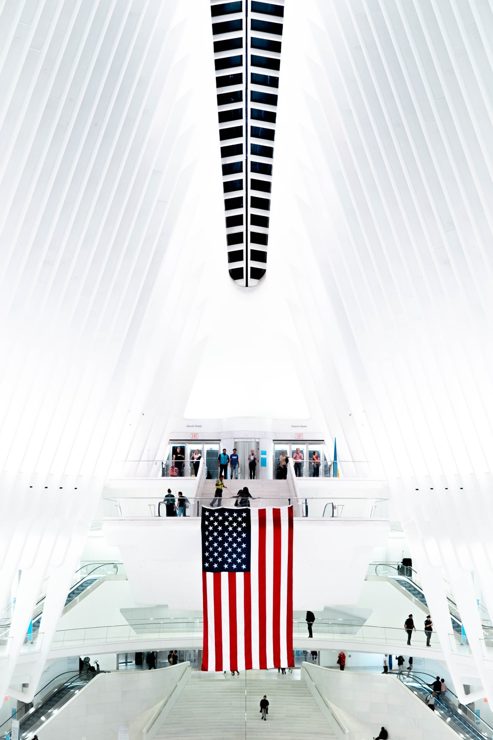 flag of U.S.A. inside white structure