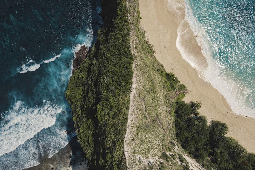 bird's-eye view photography of island