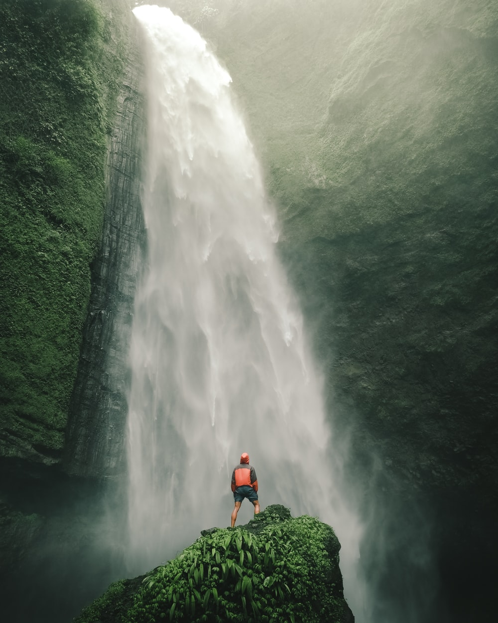 person standing front of water falls