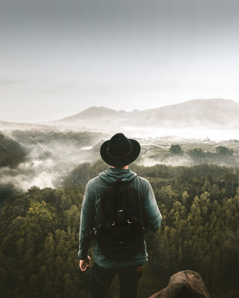 man standing on mountain top overlooking green-leafed trees at foggy daytime