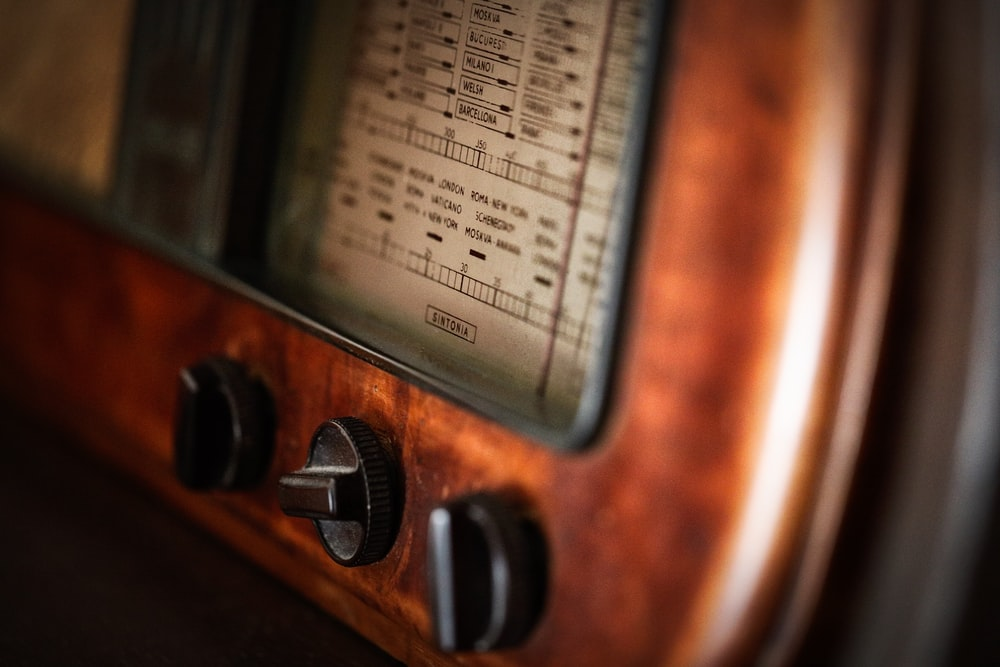 close up of brown radio