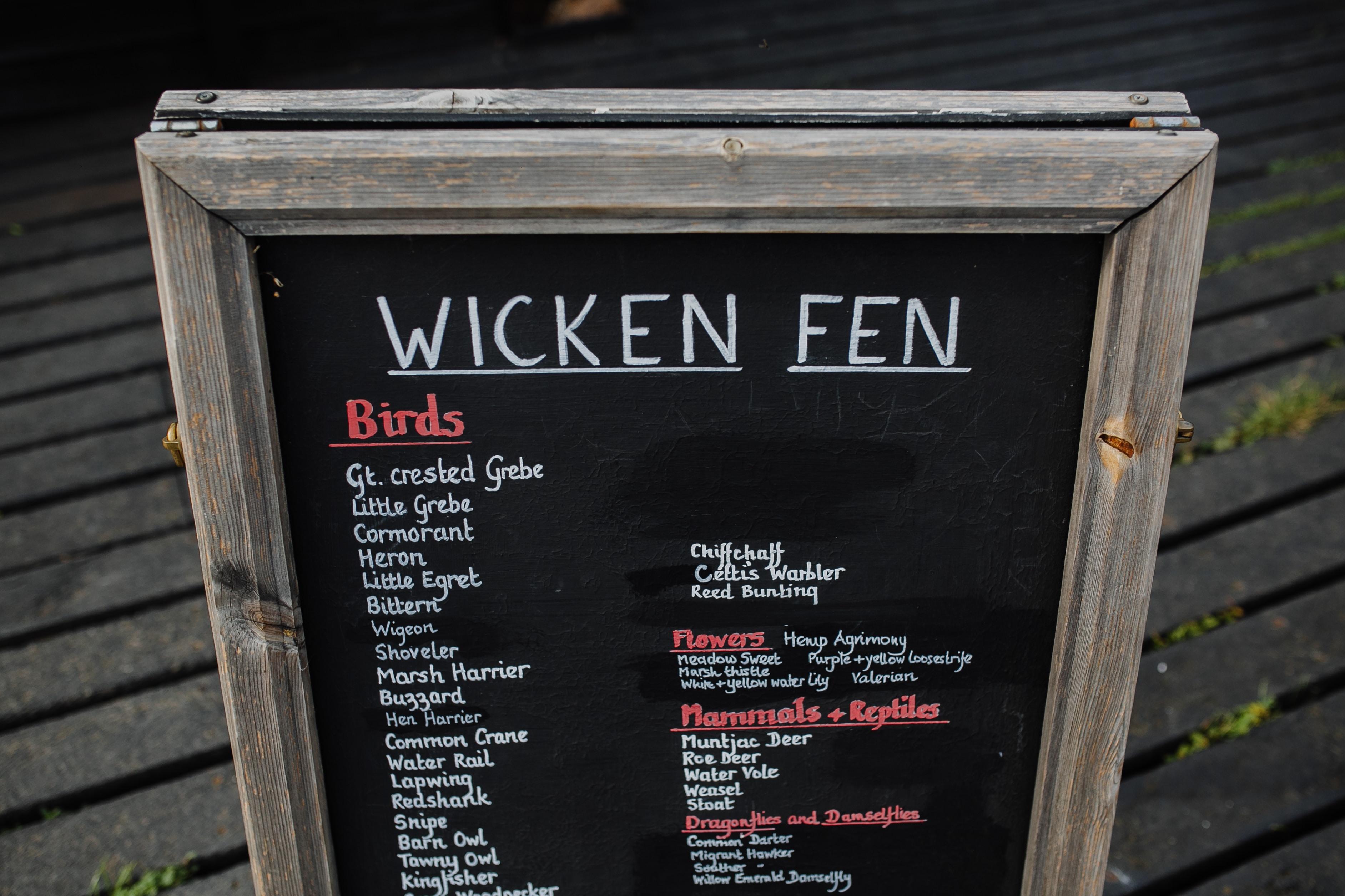 Wicken Fen menu