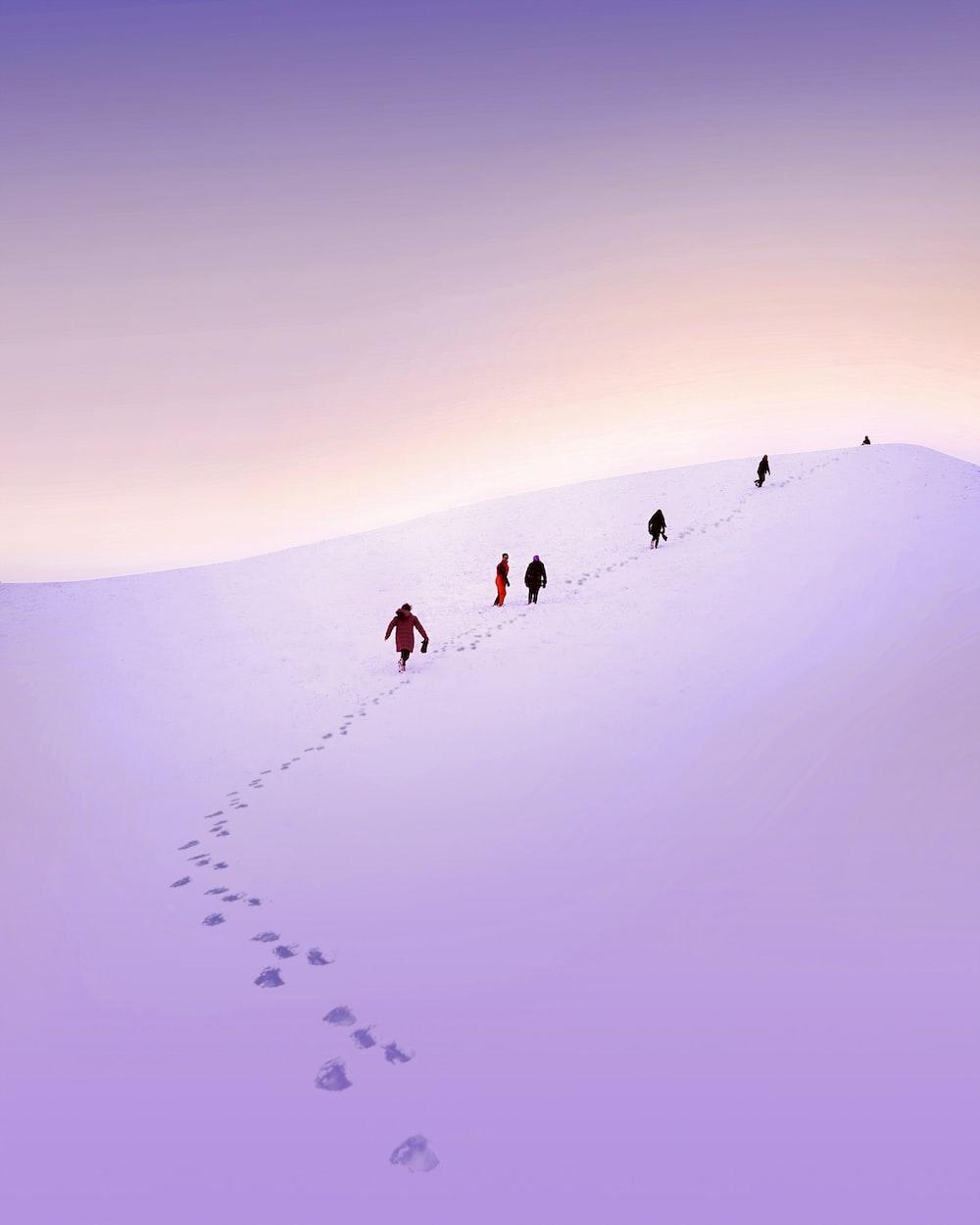 group of people walking snow field