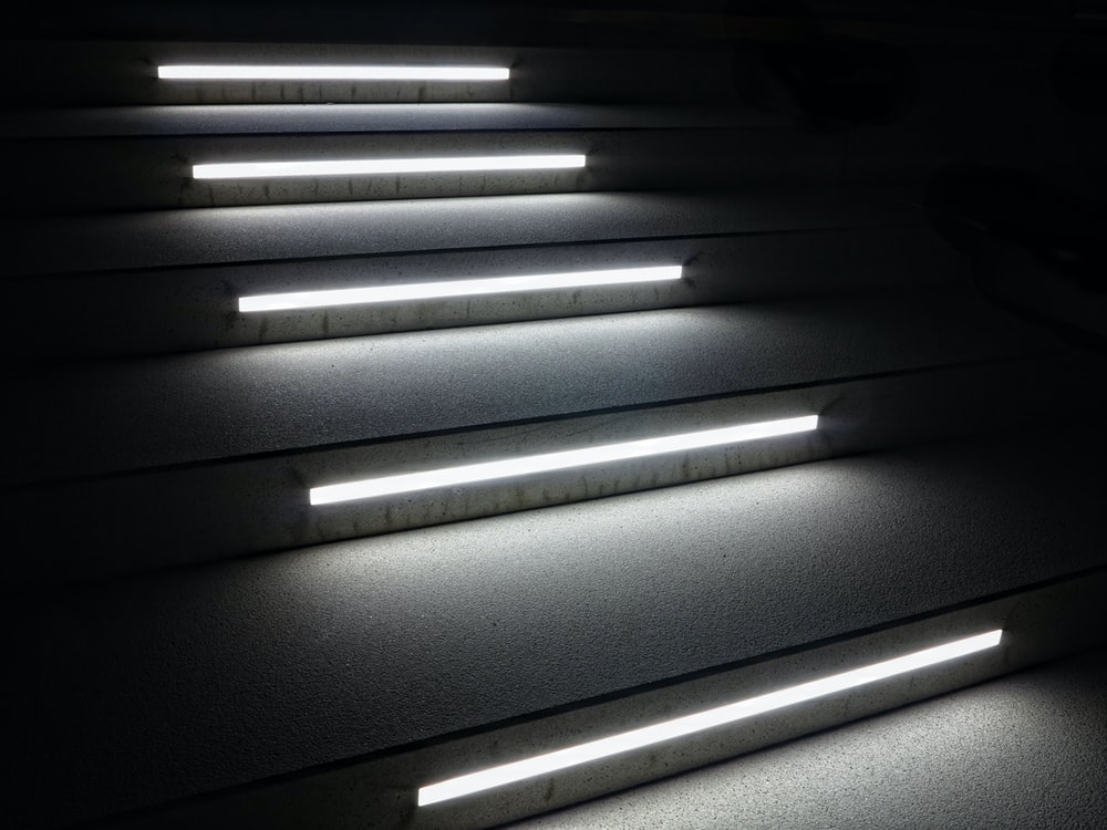 stair with fluorescent lights