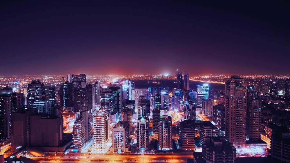 high angle photography of city during night time