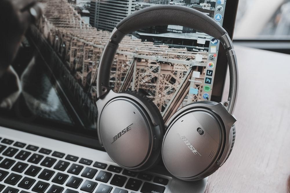 black Bose wireless headphones