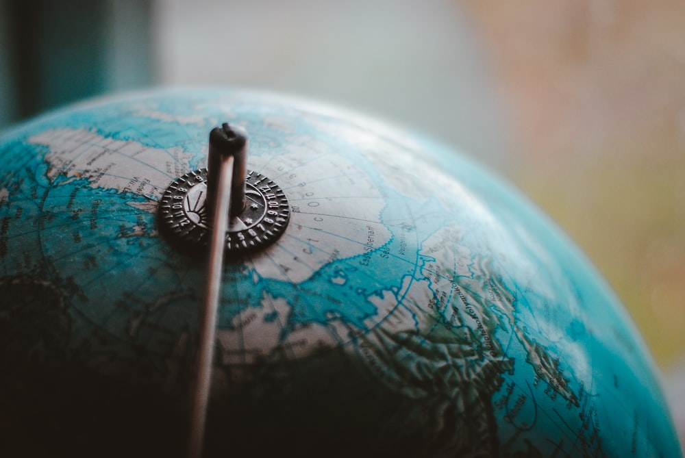 close-up photo of desk globe