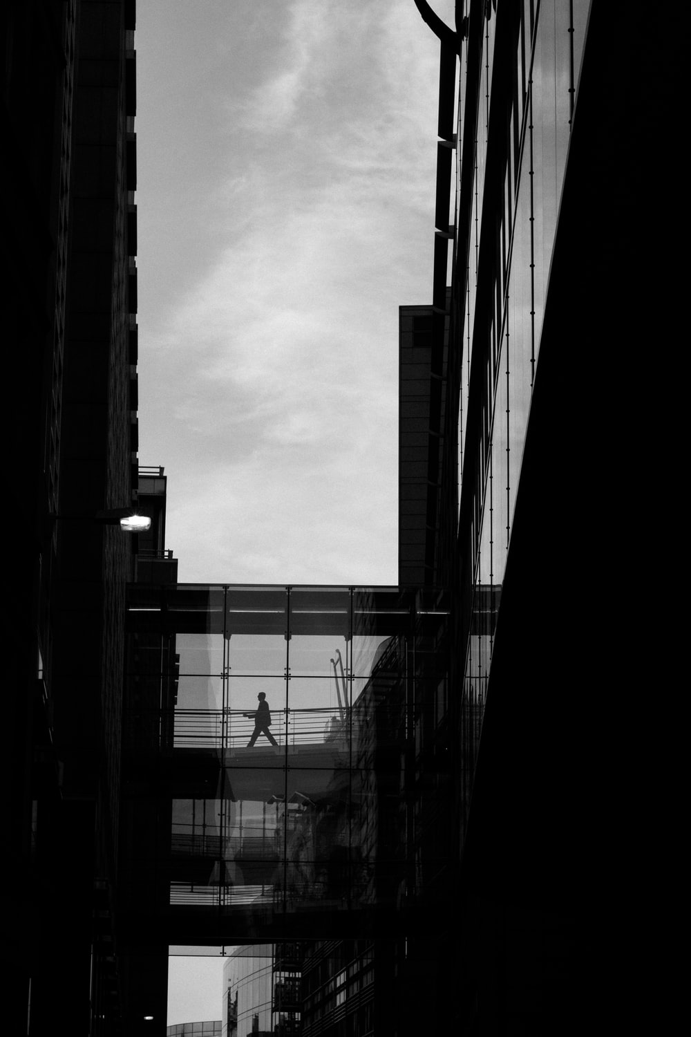 person walking on building