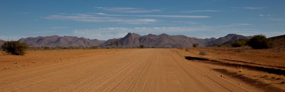 view of dry land through mountain