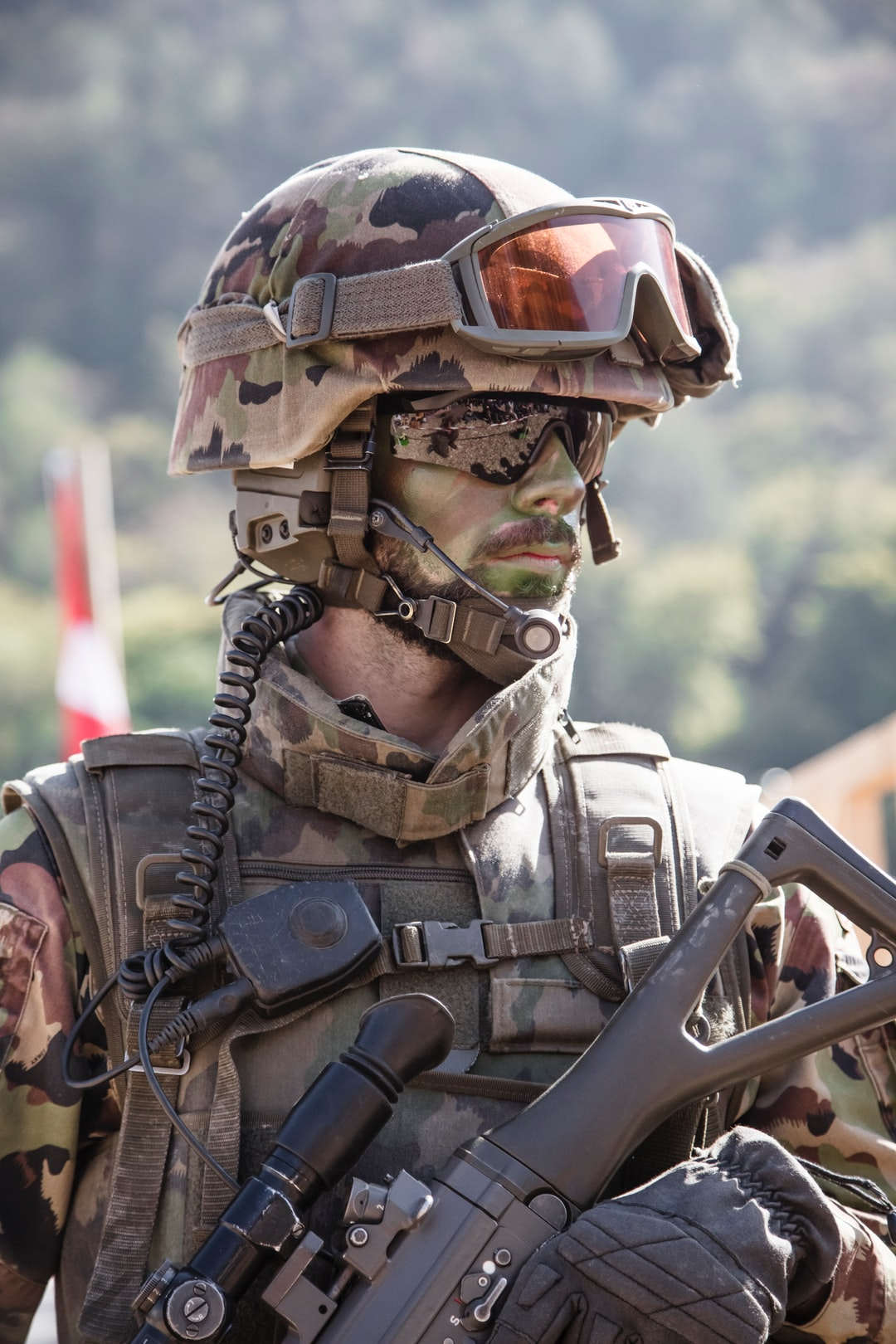 A Swiss Army recruit during a public presentation in Valais Switzerland.