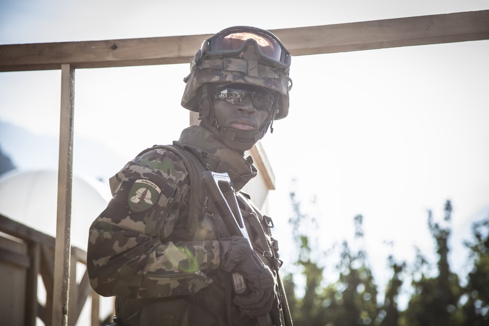 male soldier looking right