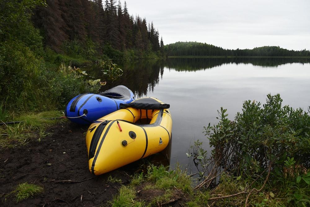 two blue and yellow kayaks near lake