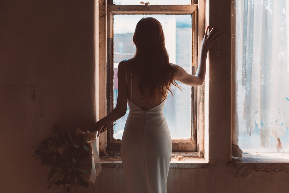 woman near window