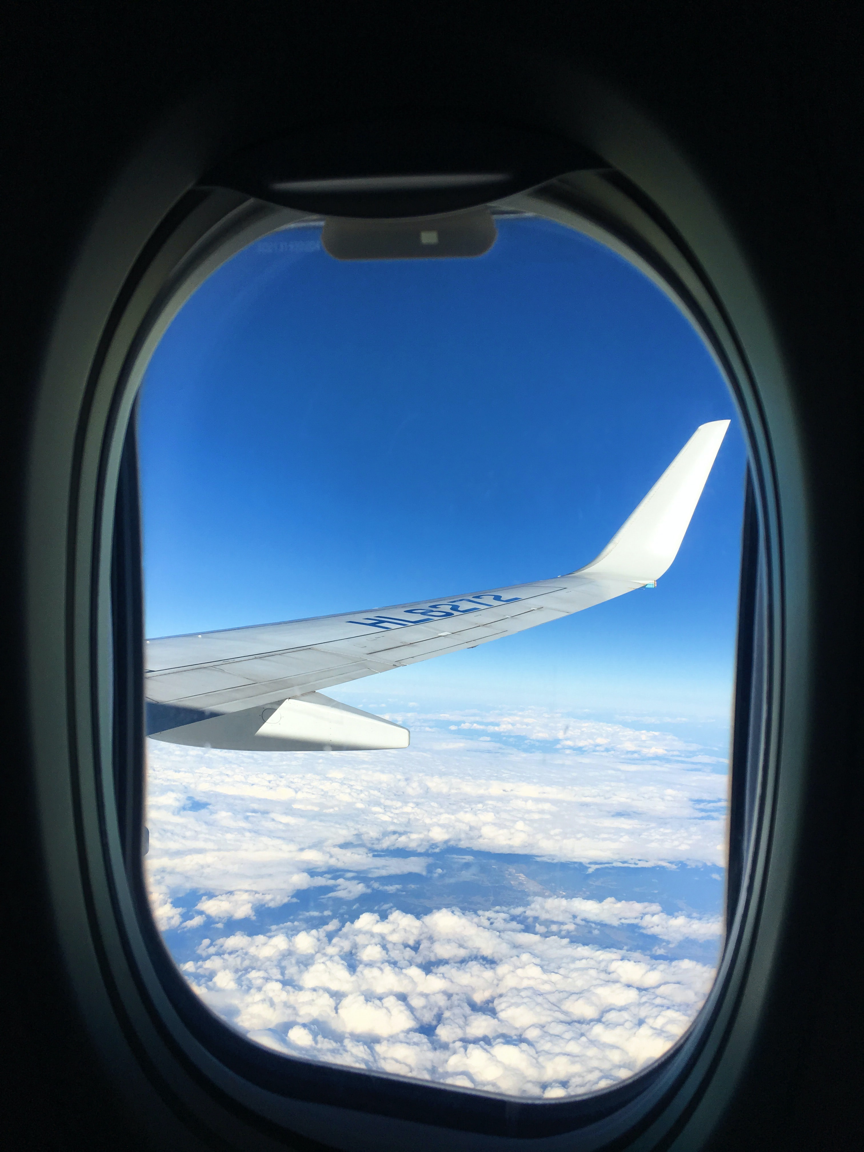 plane window showing airliner right wing